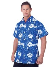 Picture of Blue Hawaiian Aloha Adult Mens Shirt