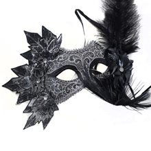Picture of Black Venetian Masquerade Mask with Leaves & Flower
