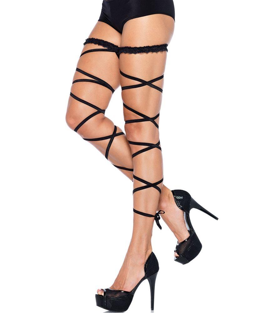 Picture of Black Garter Leg Wraps