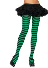 Picture of Black and Kelly Green Striped Tights