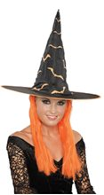 Picture of Neon Print Witch Hat with Hair (More Colors)