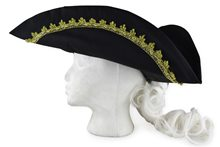 Picture of Black Colonial Hat with Wig
