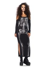Picture of Skeleton Adult Womens Dress with Side Slit