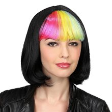 Picture of Black Pageboy Wig with Rainbow Bangs