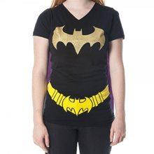 Picture of Batgirl Glitter V-Neck Juniors T-Shirt