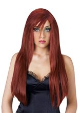 Picture of Red Silky Deluxe Wig