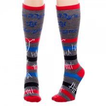 Picture of Harley Quinn Daddy's Little Monster Striped Knee High Socks
