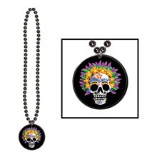 Picture of Day of the Dead Beads with Medallion