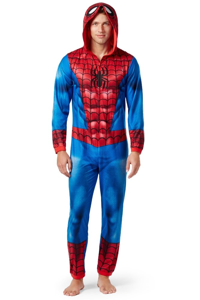 Picture of Spider-Man Adult Mens Onesie with Hood