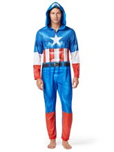 Picture of Captain America Adult Mens Onesie with Hood