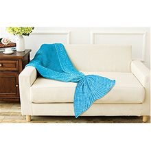 Picture of Teal Mermaid Fin Knitted Adult Blanket