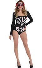 Picture of Day of the Dead Bodysuit Adult Womens Costume