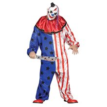 Picture of Stars & Striped Evil Clown Adult Mens Plus Size Costume