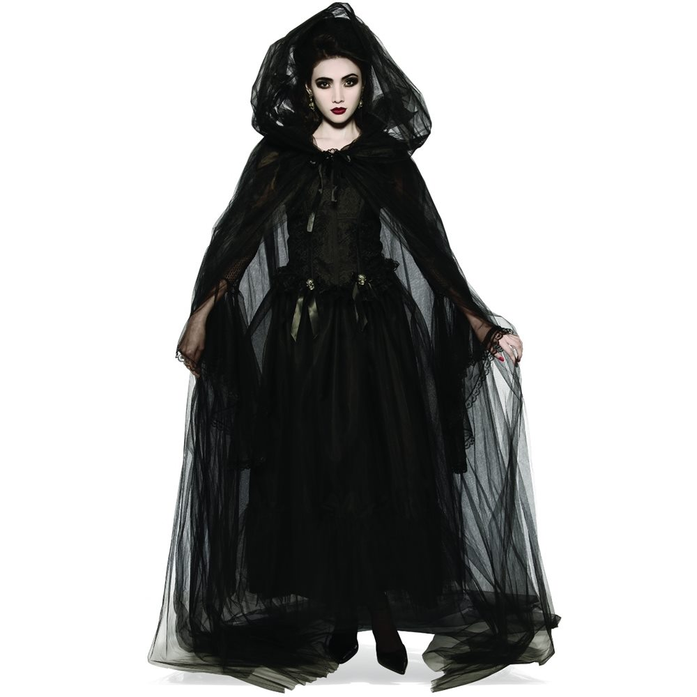 Picture of Sheer Black Hooded Cape