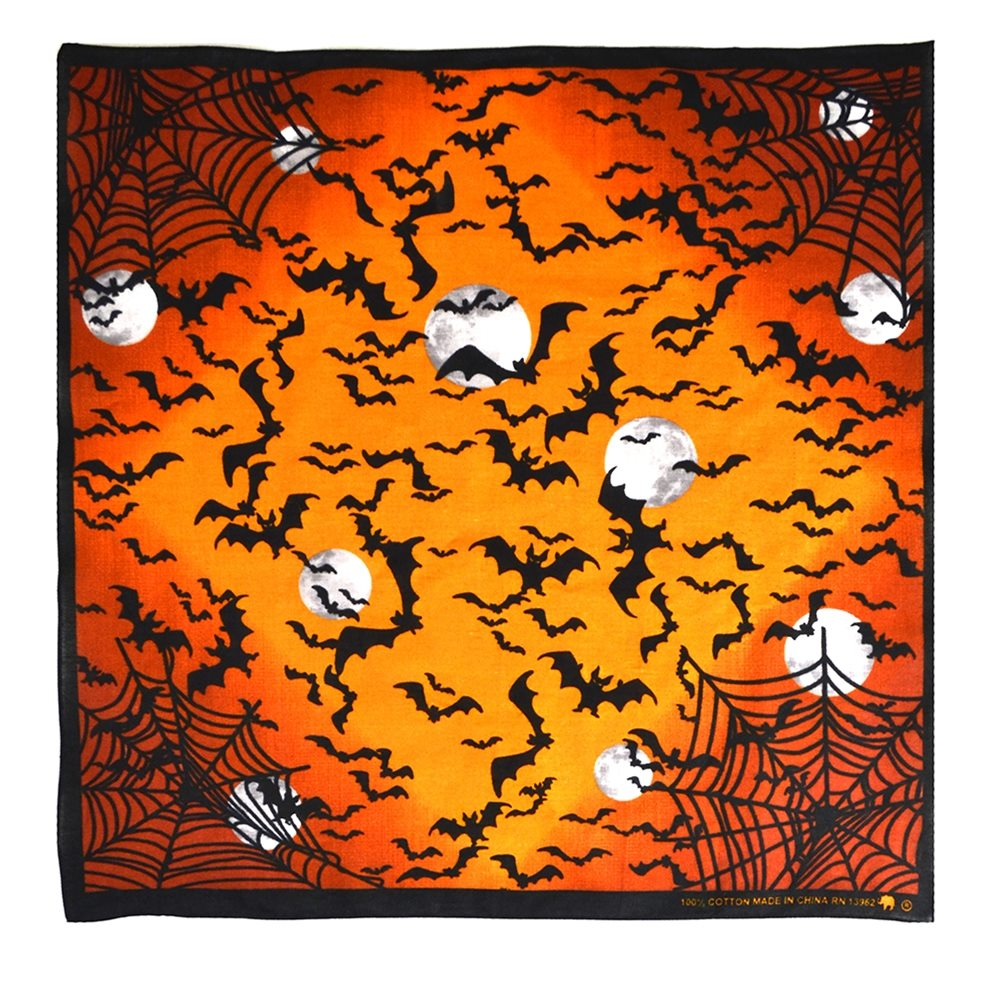 Picture of Bats & Spiderwebs Orange Bandana