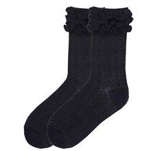 Picture of Byzantine Brocade Black Ruffle Socks