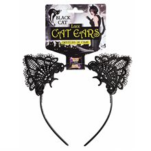 Picture of Black Lace Cat Ears Headband