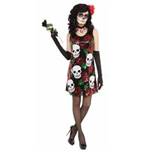 Picture of Skulls & Roses Sequin Dress Adult Womens Costume