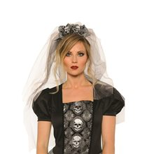 Picture of Day of the Dead Skull Mantilla Veil