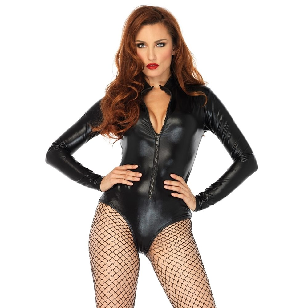 Picture of Black Lame Zipper Front Adult Womens Bodysuit