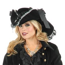 Picture of Black & Silver Lace Pirate Hat