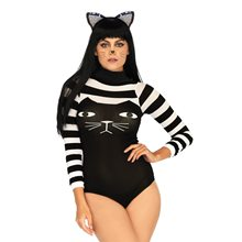 Picture of Striped Cat Nylon Adult Womens Bodysuit