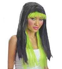 Picture of Black and Neon Green Witch Wig