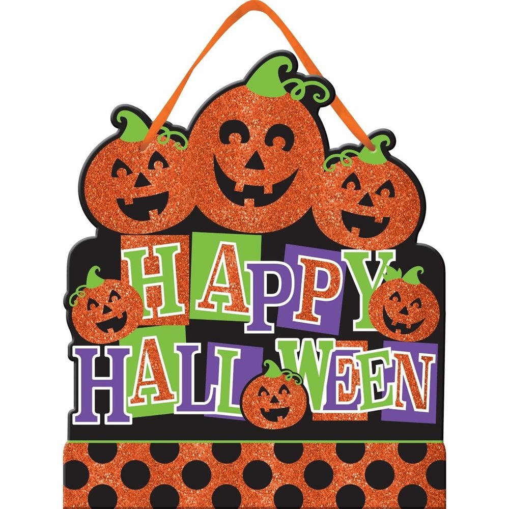Picture of Jack-O-Lanterns Happy Halloween Glitter Sign
