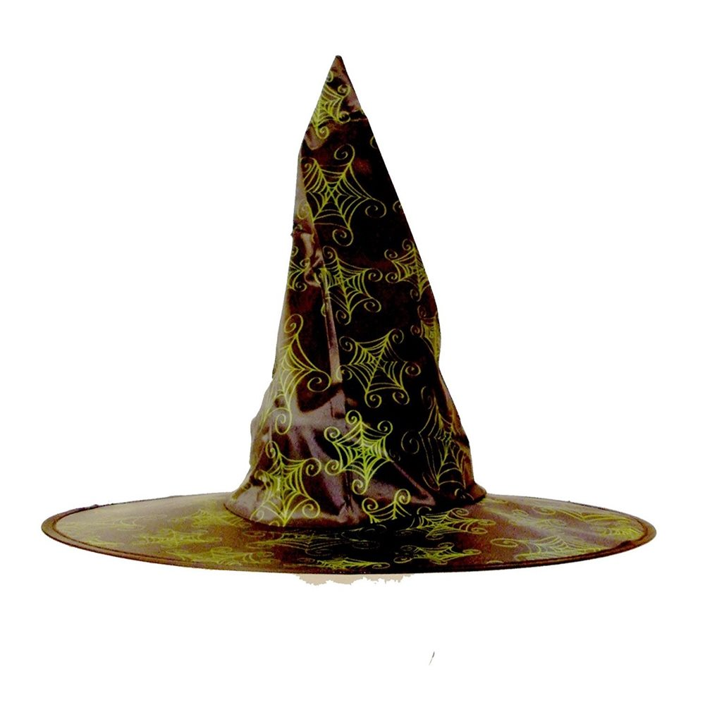 Picture of Black Witch Hat with Green Spiderwebs