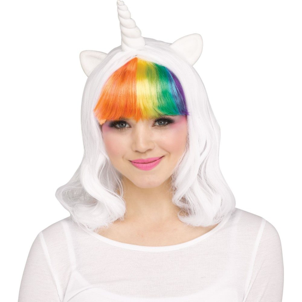 Picture of White Unicorn Wig with Rainbow Bangs