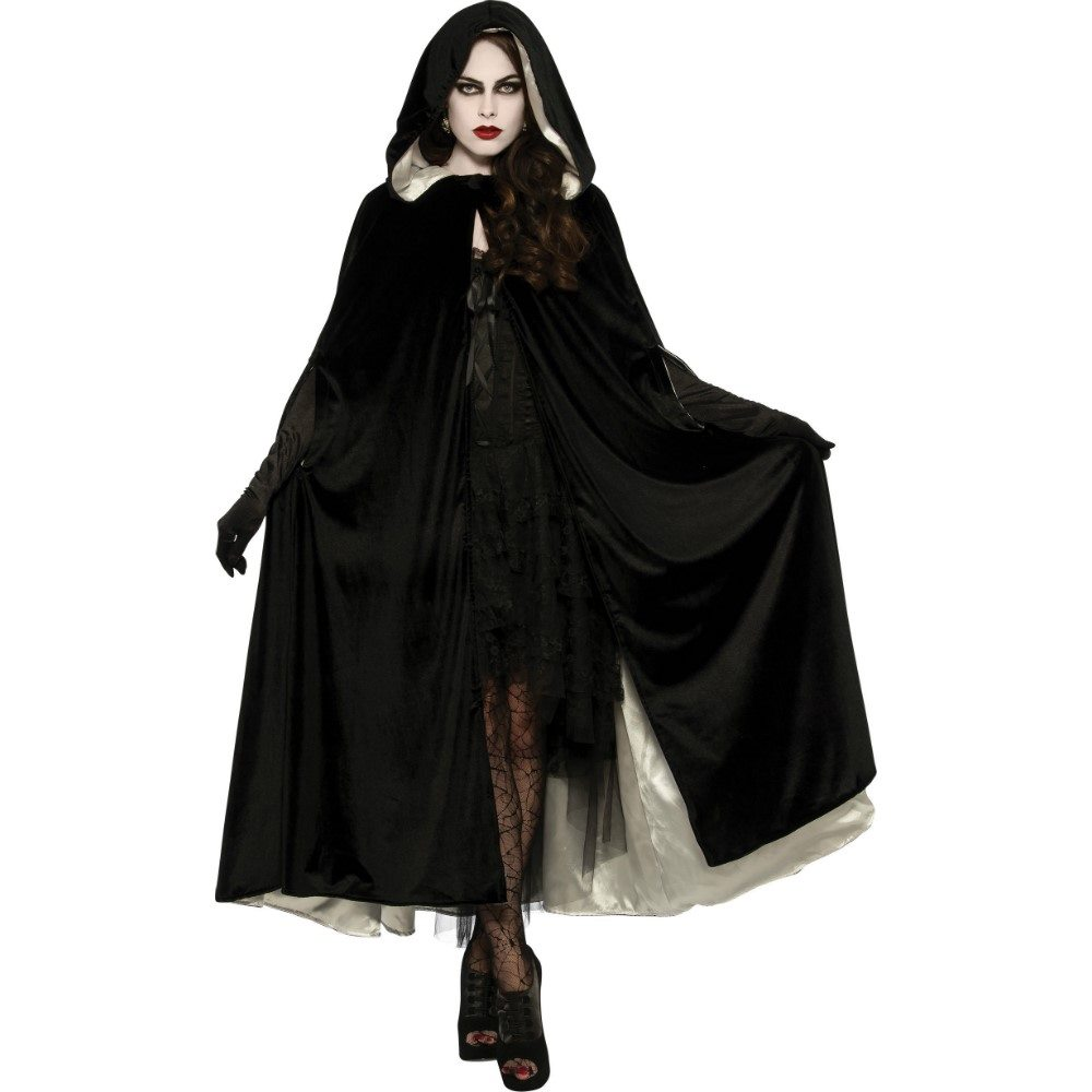 Picture of Hooded Velvet & Satin Reversible Cape