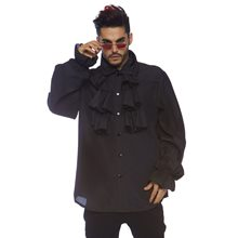 Picture of Black Ruffled Front Adult Mens Shirt