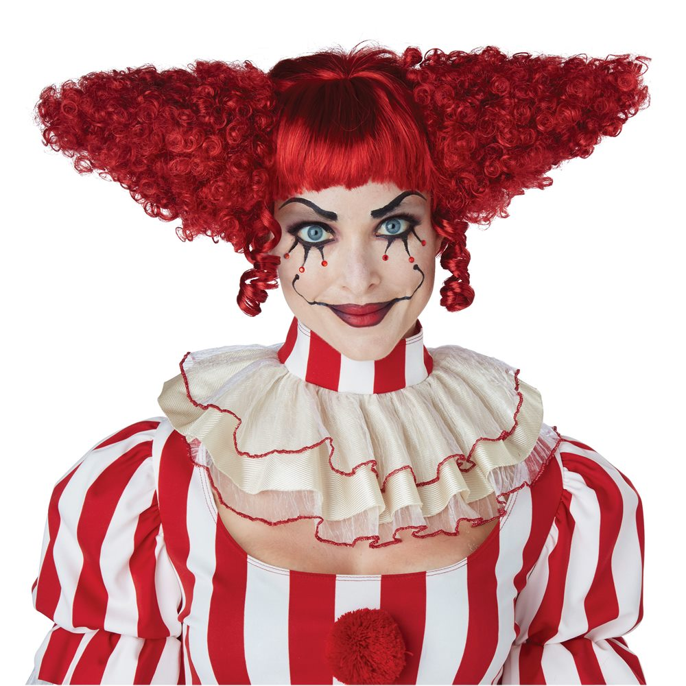Picture of Red Creepy Clown Curly Wig