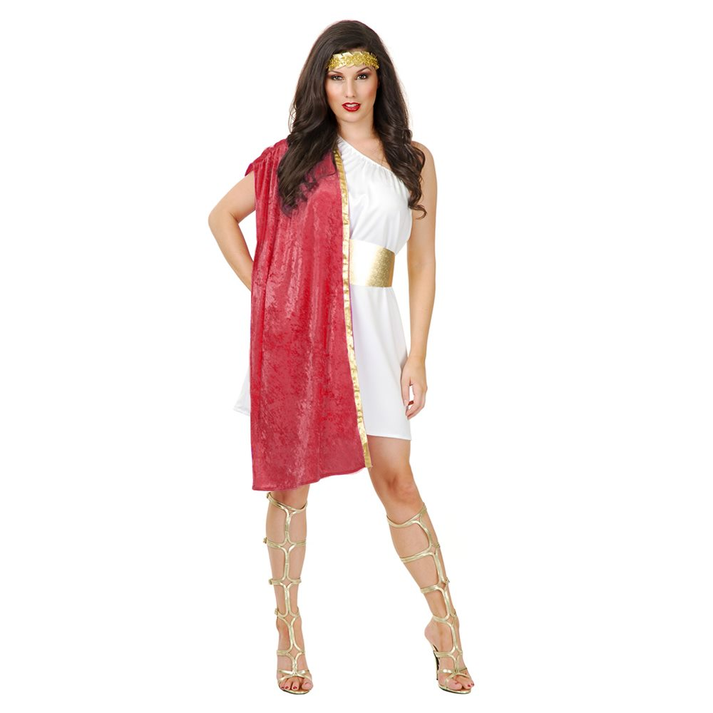 Picture of White & Red Toga Dress Adult Womens Costume