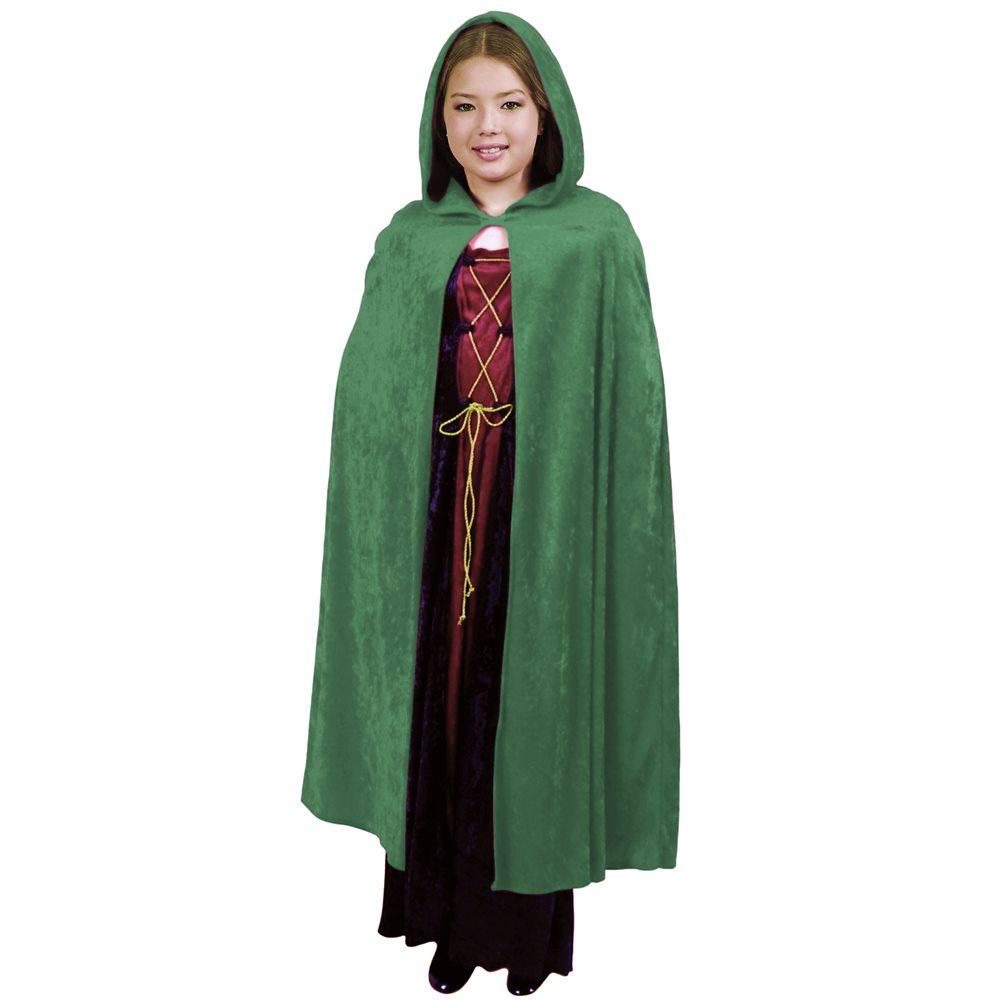 Picture of Green Velvet Hooded Child Cape