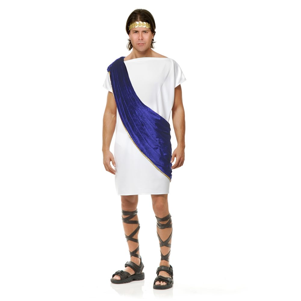 Picture of White & Blue Toga Man Adult Mens Costume