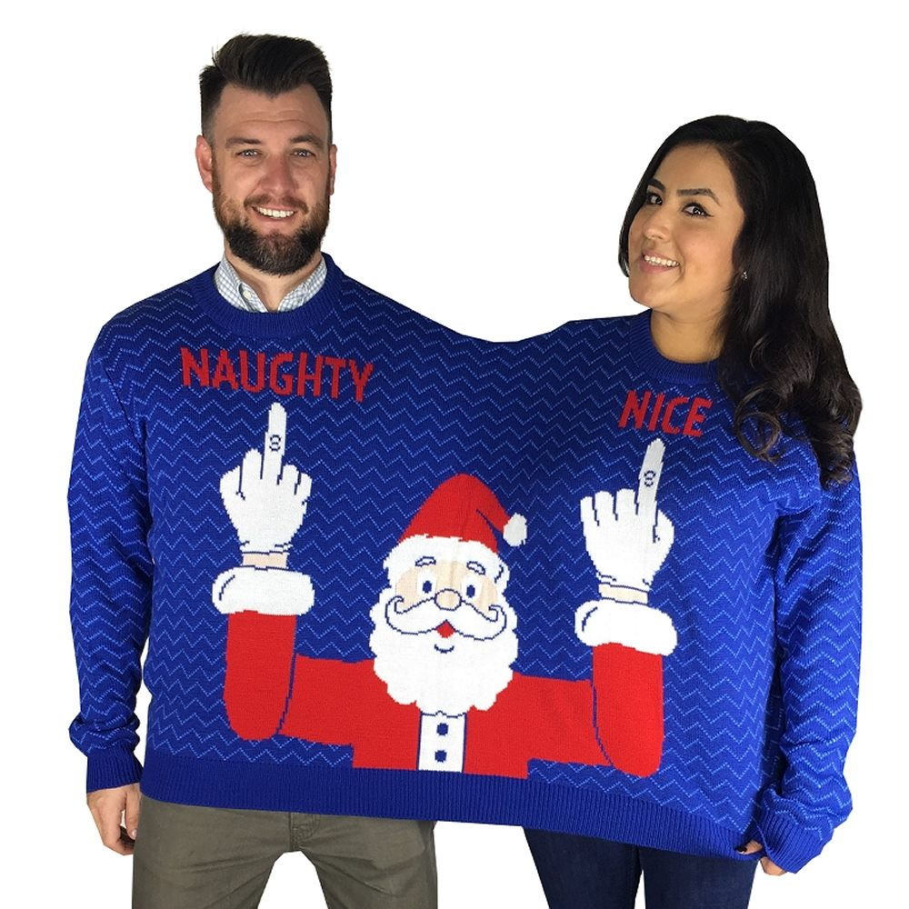 Picture of Two Person Naughty & Nice Adult Ugly Christmas Sweater