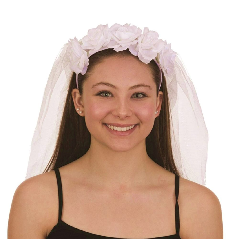 Picture of White Veil Headband with Roses