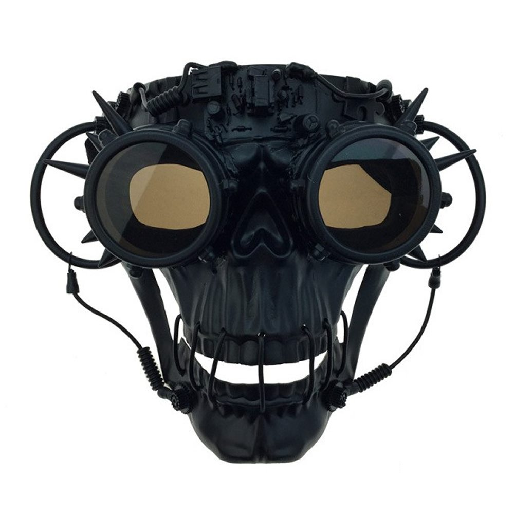 Picture of Steampunk Black Skull Mask with Goggles