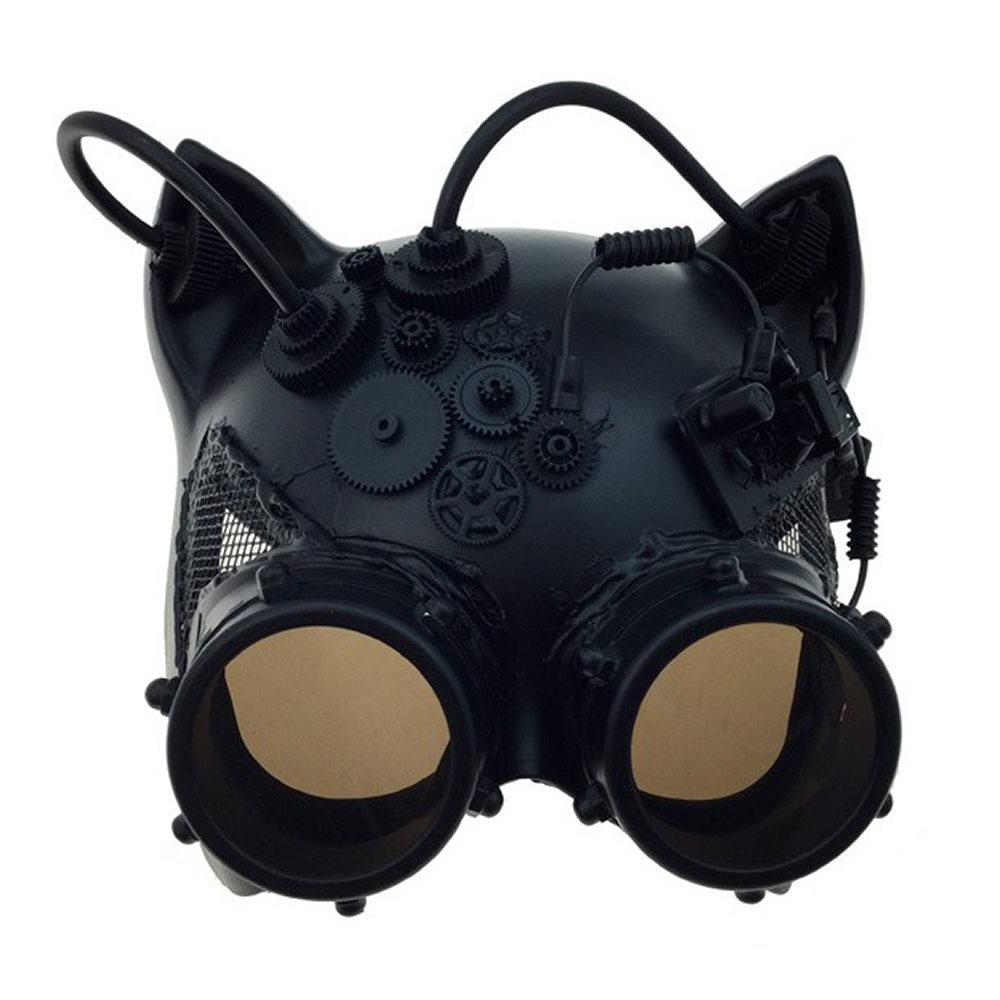 Picture of Steampunk Black Cat Mask with Goggles