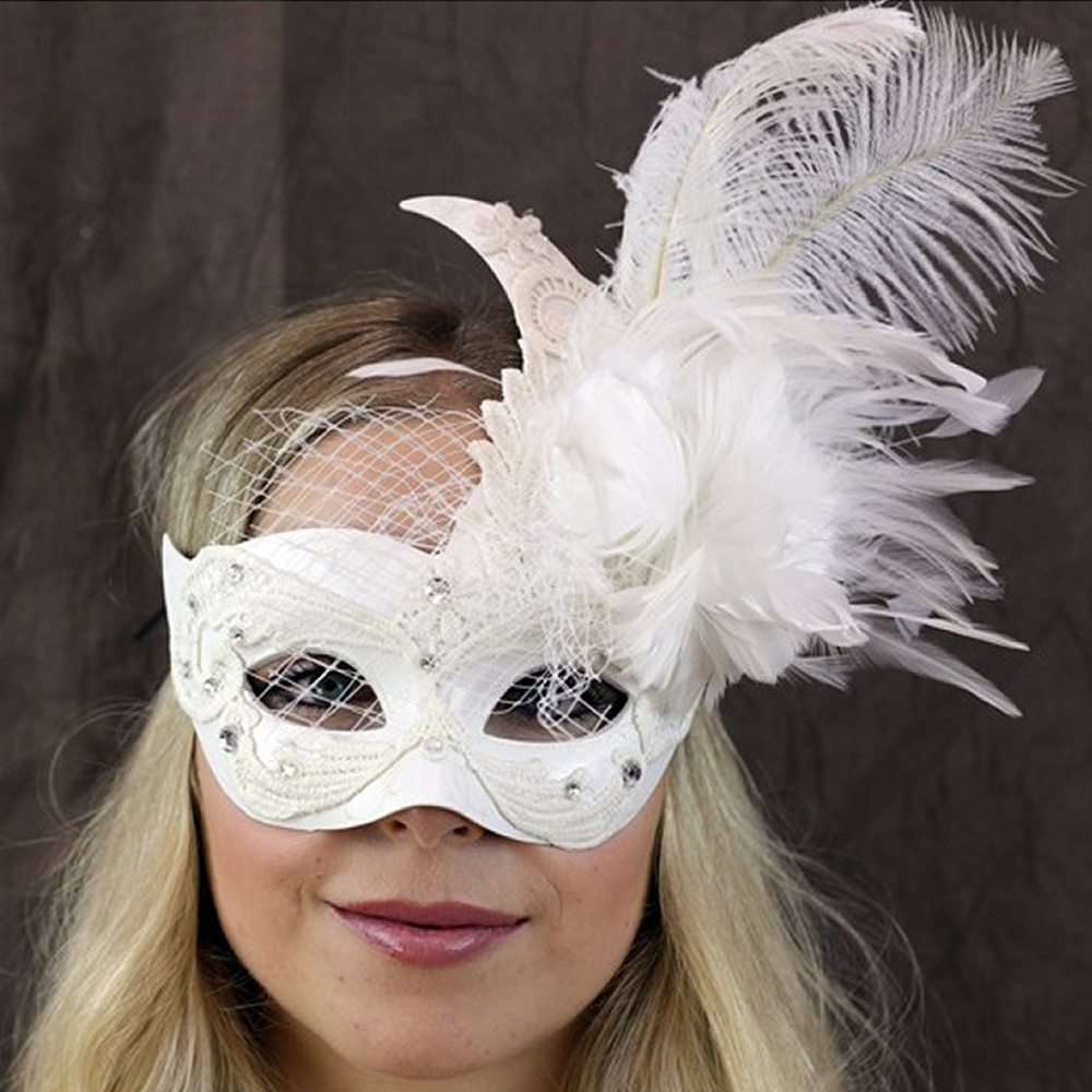 Picture of White Eye Mask with Feathers