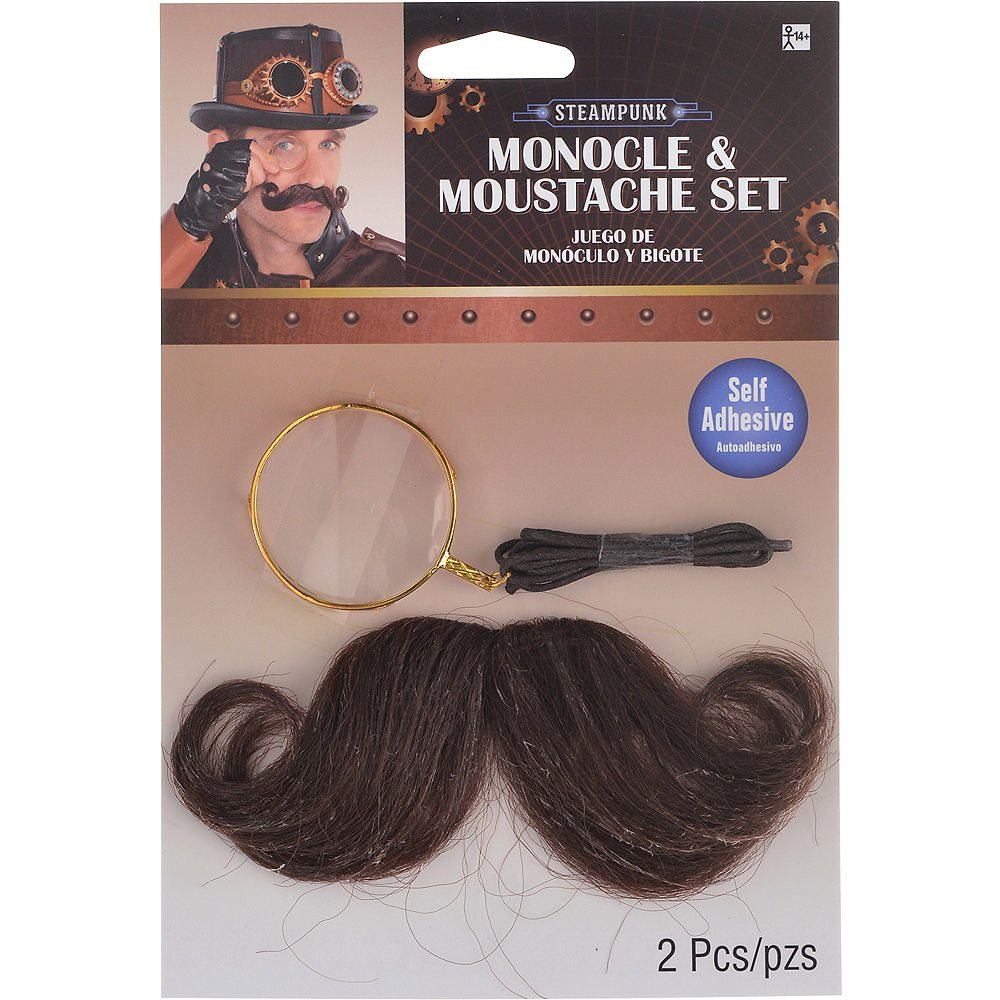 Picture of Steampunk Monocle & Moustache Set