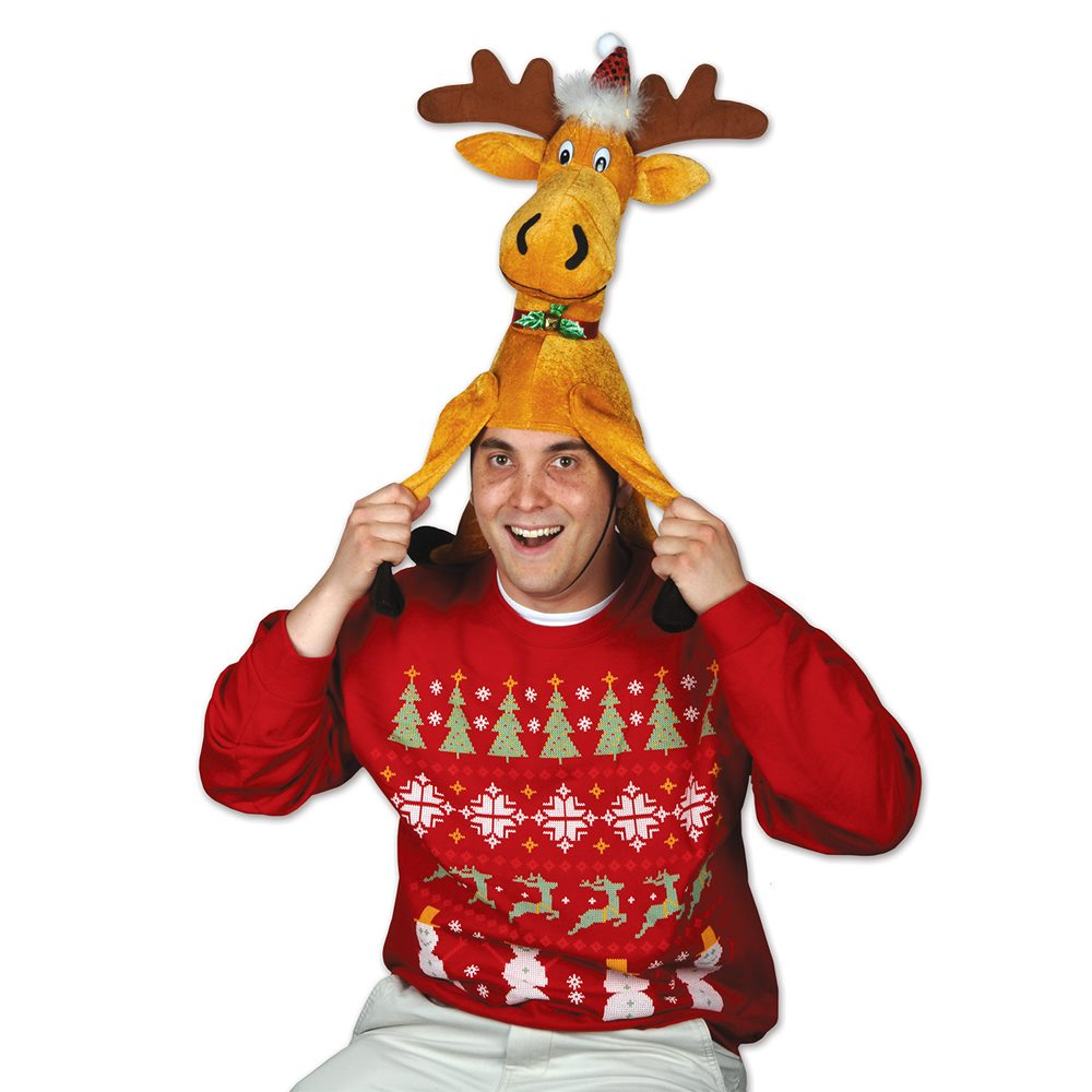 Picture of Christmas Moose Plush Hat