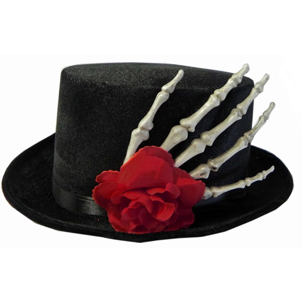 Picture of Top Hat with Skeleton Hand & Rose