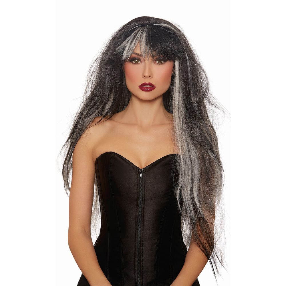 Picture of Haunted Black & White Extra Long Wig