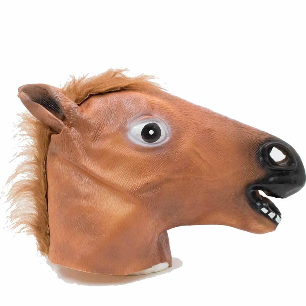 Picture of Neighing Brown Horse Head Mask