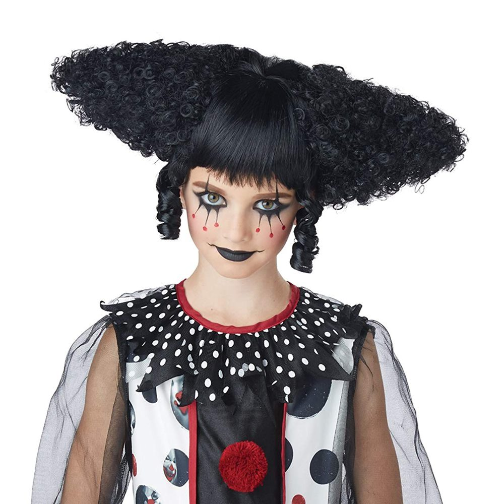 Picture of Black Creepy Clown Curly Wig