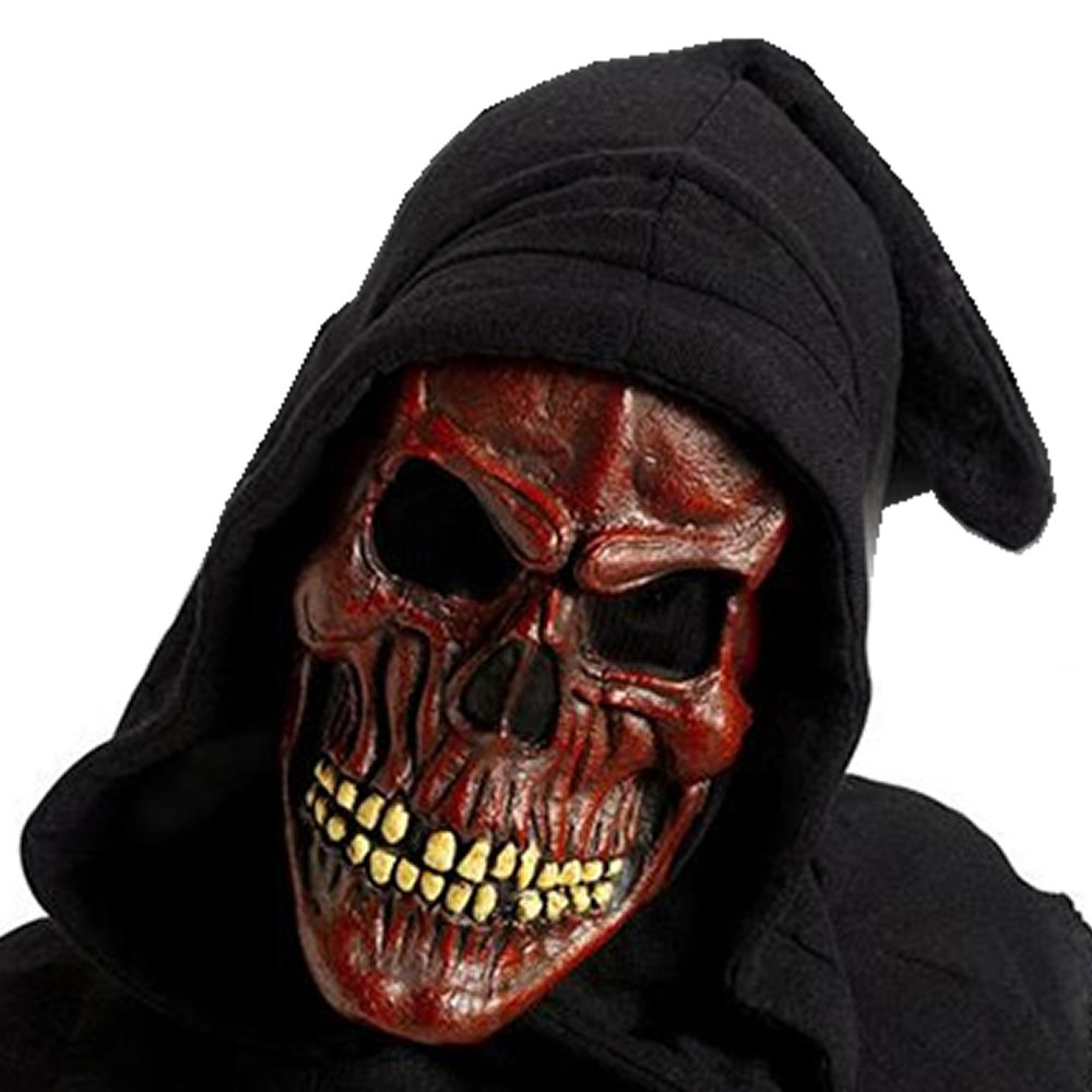 Picture of Shrouded Red Skull Latex Mask