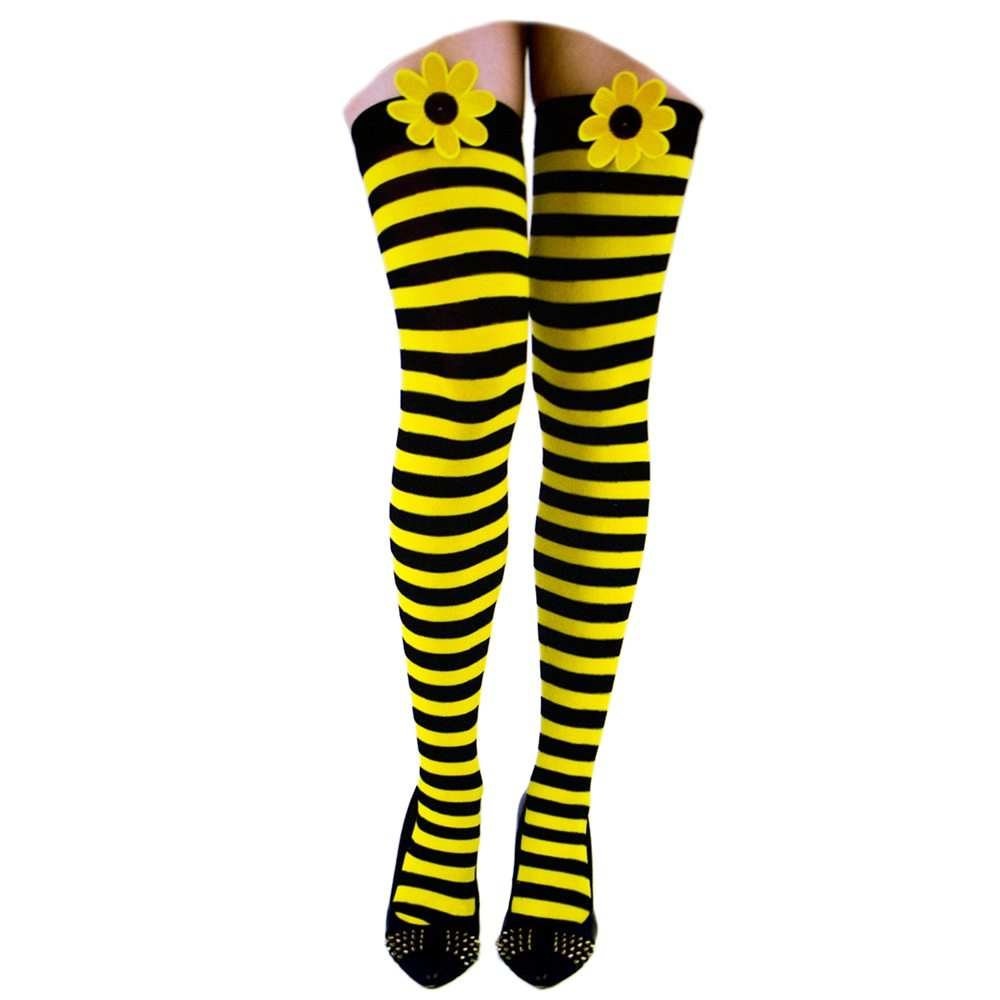 Picture of Black & Yellow Striped Thigh Highs
