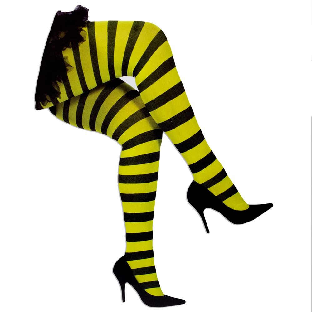 Picture of Yellow & Black Striped Leggings